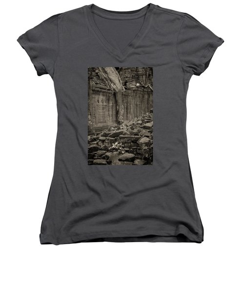 Women's V-Neck T-Shirt (Junior Cut) featuring the photograph Roots In Ruins 6, Ta Prohm, 2014 by Hitendra SINKAR