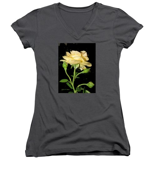 Women's V-Neck T-Shirt (Junior Cut) featuring the photograph Rose 2 by Phyllis Beiser