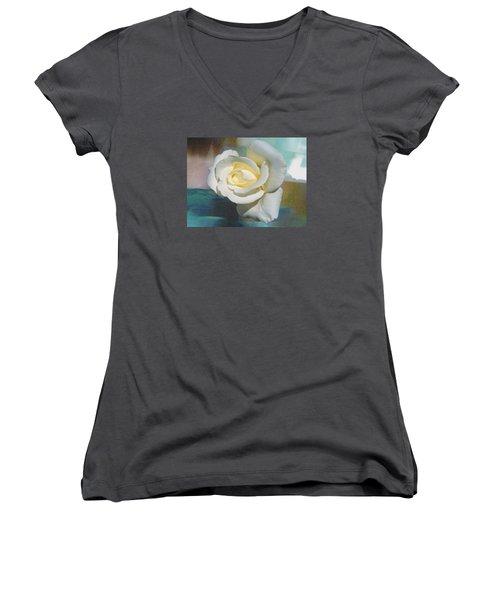 Rose And Lights Women's V-Neck T-Shirt (Junior Cut) by Helen Haw