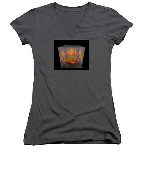 Women's V-Neck T-Shirt (Junior Cut) featuring the photograph Rose Block by Debra     Vatalaro