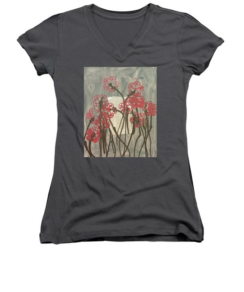 Rose Field Women's V-Neck T-Shirt (Junior Cut) by Artists With Autism Inc