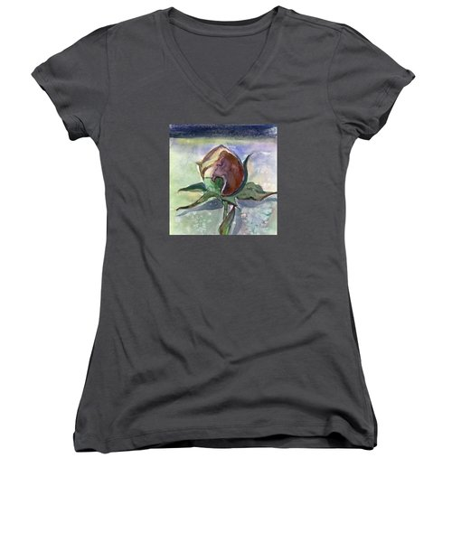 Rose In The Snow Women's V-Neck T-Shirt (Junior Cut) by Mindy Newman