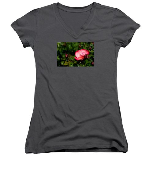 Women's V-Neck T-Shirt (Junior Cut) featuring the photograph Rose by Lora Lee Chapman