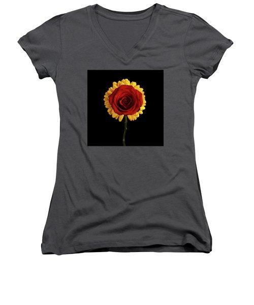 Rose On Yellow Flower Black Background Women's V-Neck T-Shirt (Junior Cut) by Sergey Taran