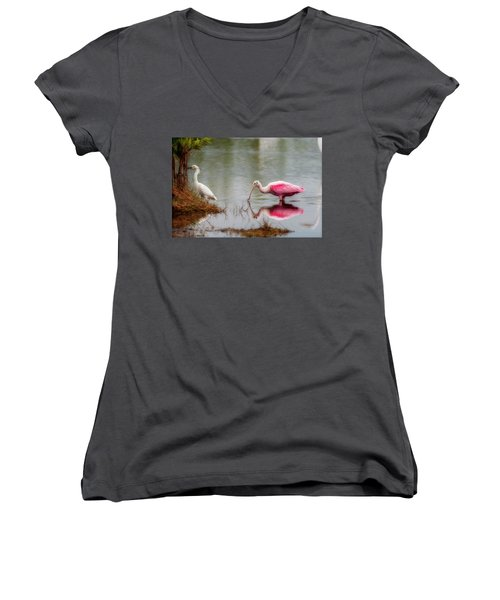 Roseate Spoonbill Eating In Southern Florida Women's V-Neck