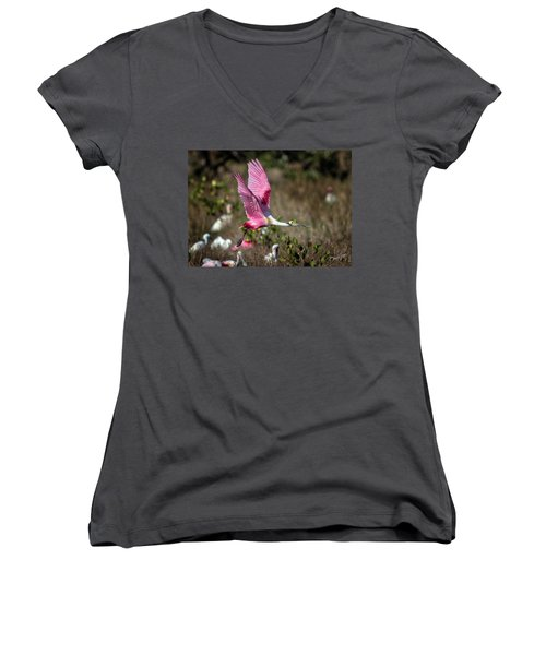 Roseate Spoonbill Flying Women's V-Neck (Athletic Fit)