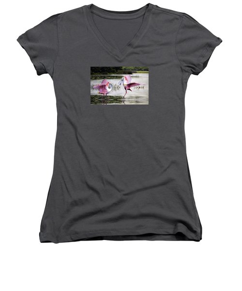 Women's V-Neck T-Shirt (Junior Cut) featuring the photograph Roseate Spoonbills Sparring. by Brian Tarr
