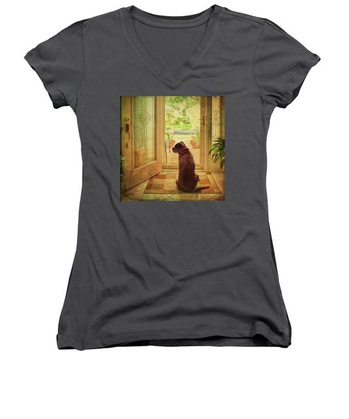 Women's V-Neck T-Shirt featuring the photograph Rosebud At The Door by Lewis Mann