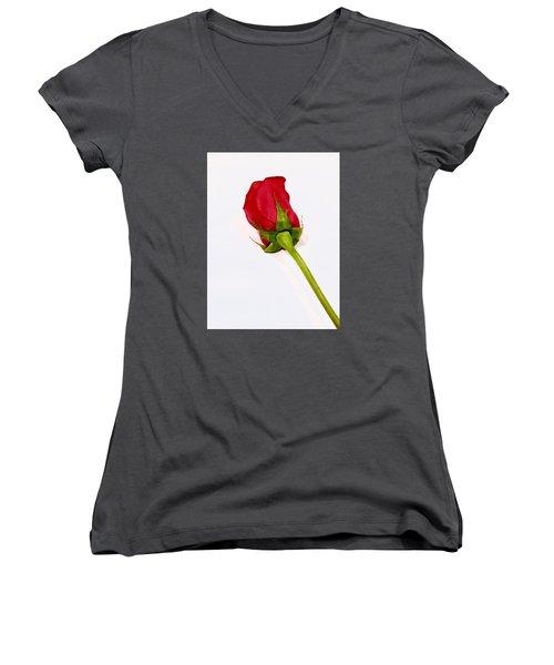Rosebud Women's V-Neck T-Shirt (Junior Cut) by Russell Keating