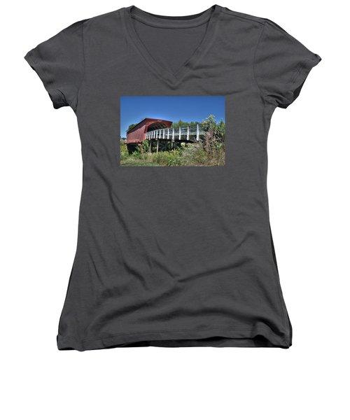 Roseman Bridge No. 5 Women's V-Neck T-Shirt (Junior Cut) by Janice Adomeit