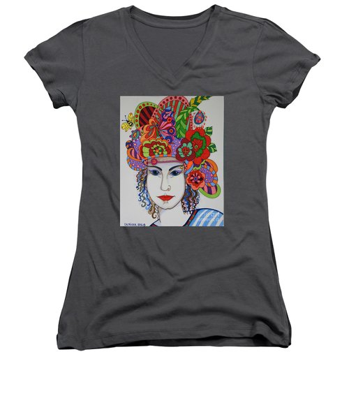 Women's V-Neck T-Shirt (Junior Cut) featuring the painting Rosemary by Alison Caltrider