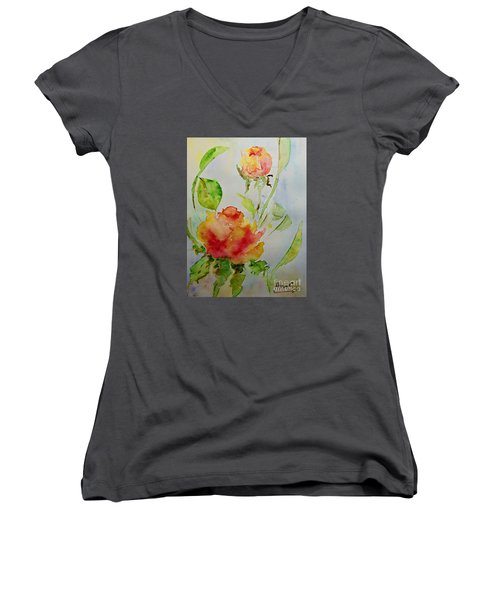Women's V-Neck T-Shirt (Junior Cut) featuring the painting Roses  by AmaS Art