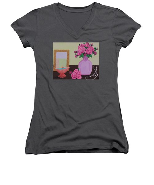 Women's V-Neck T-Shirt (Junior Cut) featuring the painting Roses And Pearls by Hilda and Jose Garrancho