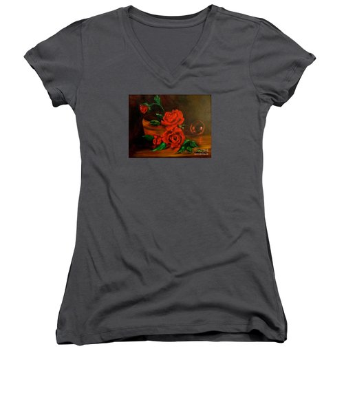 Women's V-Neck T-Shirt (Junior Cut) featuring the painting Roses Are Red by Jenny Lee