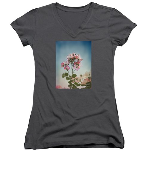 Women's V-Neck T-Shirt (Junior Cut) featuring the photograph Roses In The Sky by Elaine Teague