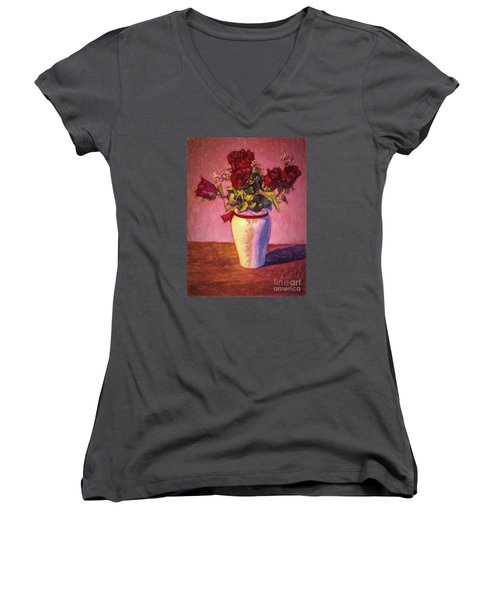 Women's V-Neck T-Shirt (Junior Cut) featuring the photograph Roses In Vase  ... by Chuck Caramella