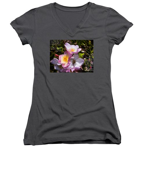 Roses Speak Of Love In The Language Of The Heart Women's V-Neck