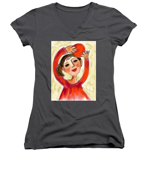Rosie Red  Women's V-Neck T-Shirt (Junior Cut) by Elaine Lanoue