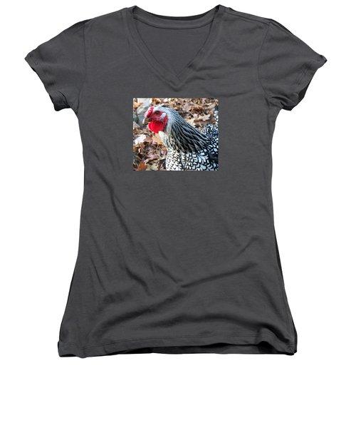 Rosie The Chicken Women's V-Neck T-Shirt (Junior Cut) by Joy Nichols