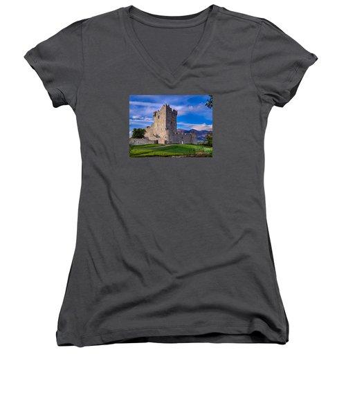 Women's V-Neck T-Shirt (Junior Cut) featuring the photograph Ross Castle by Juergen Klust