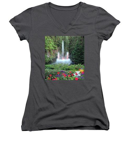 Ross Fountain Women's V-Neck T-Shirt (Junior Cut) by Betty Buller Whitehead