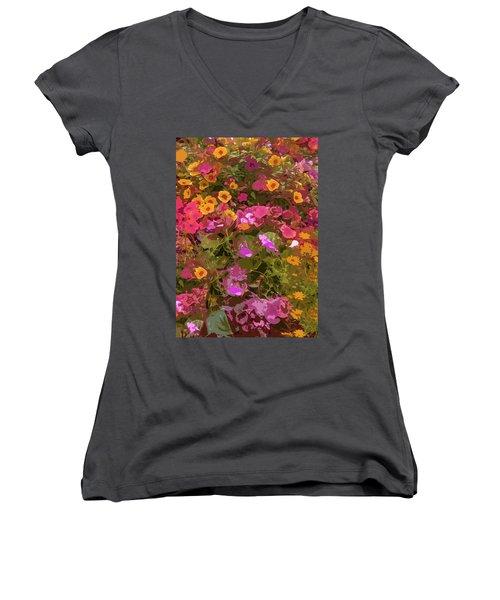 Rosy Garden Women's V-Neck T-Shirt (Junior Cut) by Josy Cue