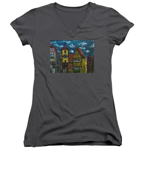 Women's V-Neck T-Shirt (Junior Cut) featuring the painting Rothenburg Ob Der Tauber by The GYPSY And DEBBIE