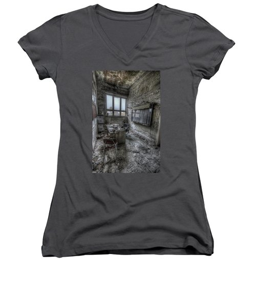 Women's V-Neck T-Shirt (Junior Cut) featuring the digital art Rotten Office by Nathan Wright