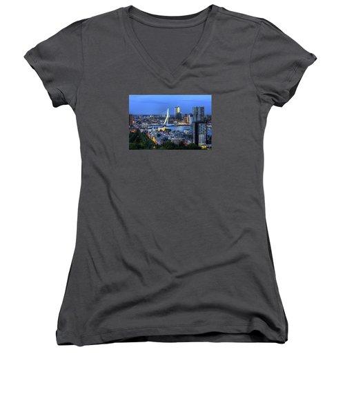 Women's V-Neck T-Shirt (Junior Cut) featuring the photograph Rotterdam Skyline With Erasmus Bridge by Shawn Everhart