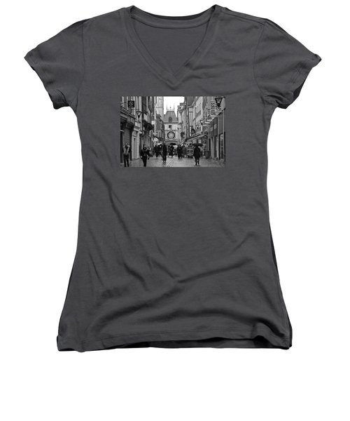 Rouen Street Women's V-Neck T-Shirt (Junior Cut) by Eric Tressler