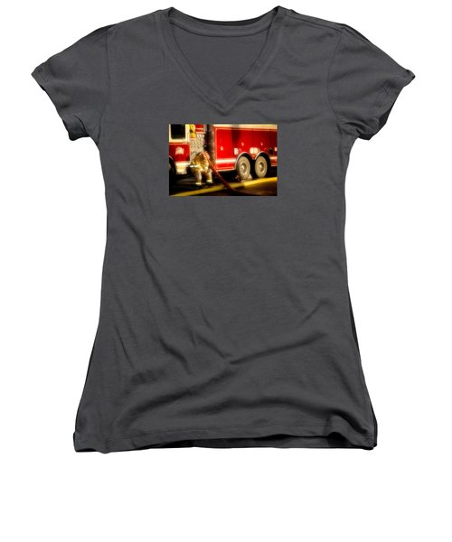 Rough Day Women's V-Neck T-Shirt (Junior Cut) by Denis Lemay