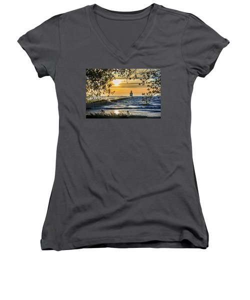 Women's V-Neck T-Shirt (Junior Cut) featuring the photograph Rough Opening by Bill Pevlor