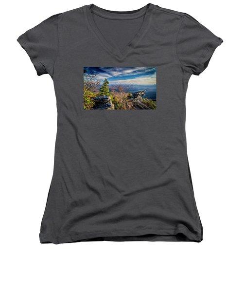 Rough Ridge View Women's V-Neck T-Shirt (Junior Cut)