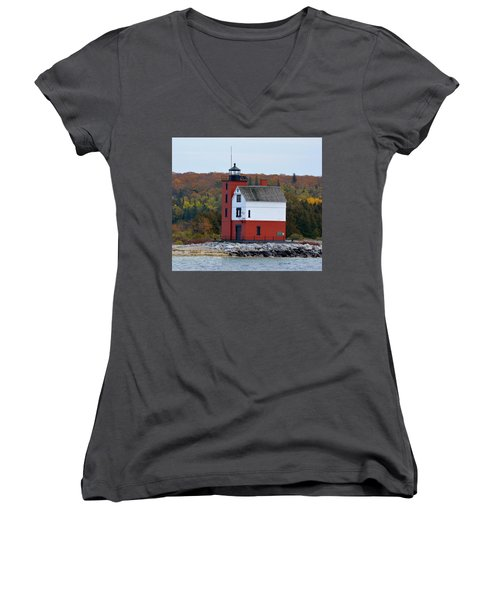 Round Island Lighthouse In October Women's V-Neck T-Shirt (Junior Cut) by Keith Stokes