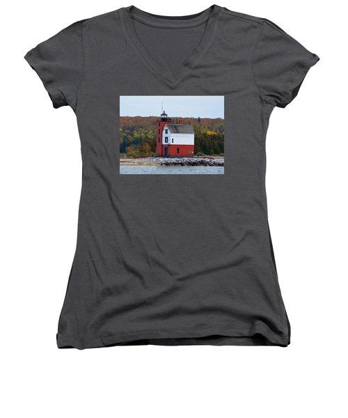 Round Island Lighthouse In October Women's V-Neck