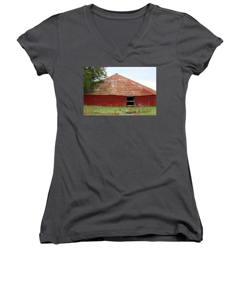 Women's V-Neck T-Shirt (Junior Cut) featuring the photograph Round Red Barn by Sheila Brown