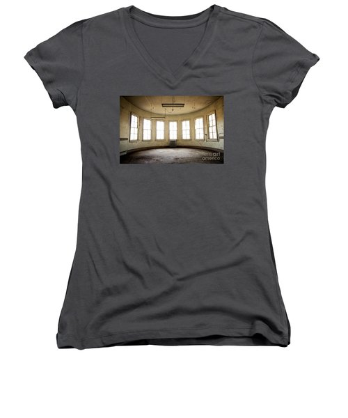 Women's V-Neck T-Shirt (Junior Cut) featuring the photograph Round Room by Randall Cogle
