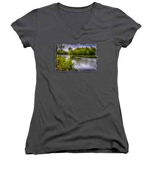 Women's V-Neck T-Shirt (Junior Cut) featuring the photograph Round The Bend In Oil 36 by Mark Myhaver