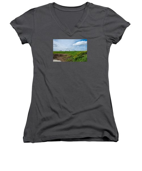 Round Tower Portrane Women's V-Neck T-Shirt (Junior Cut) by Martina Fagan