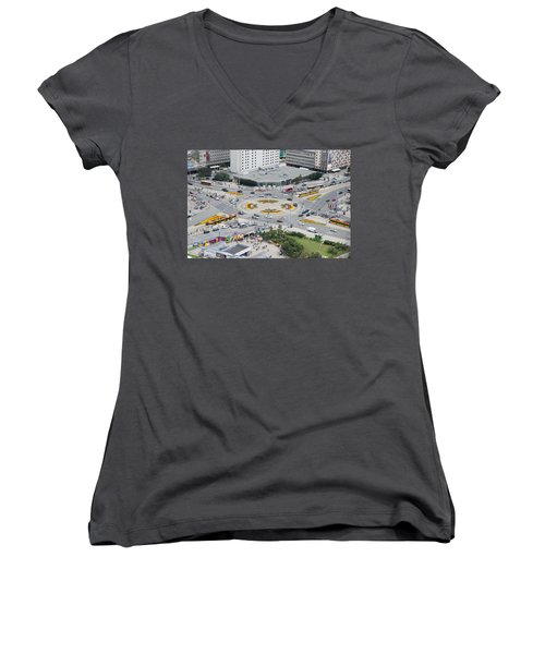 Women's V-Neck T-Shirt (Junior Cut) featuring the photograph Roundabout In Warsaw by Chevy Fleet