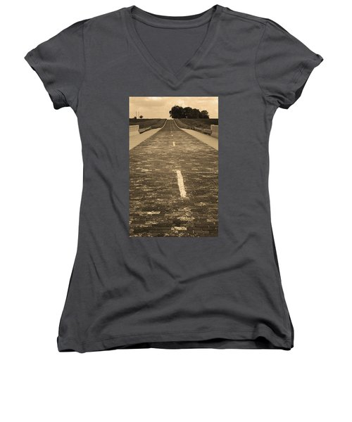 Women's V-Neck T-Shirt (Junior Cut) featuring the photograph Route 66 - Brick Highway 2 Sepia by Frank Romeo