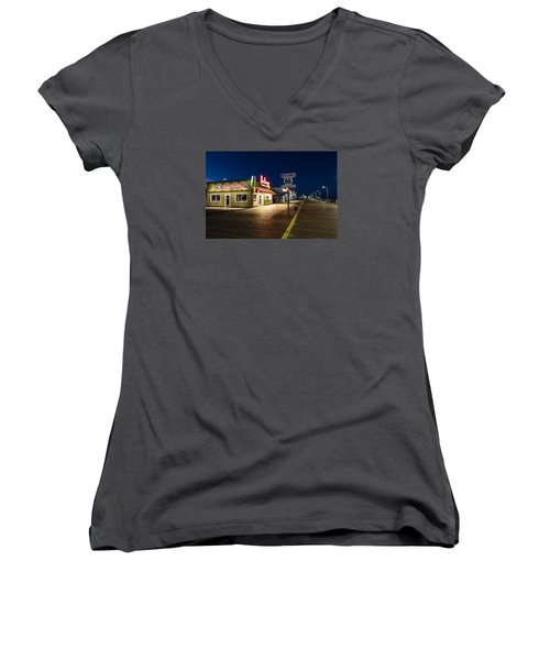 Route 66 Pier Burger Women's V-Neck T-Shirt (Junior Cut)