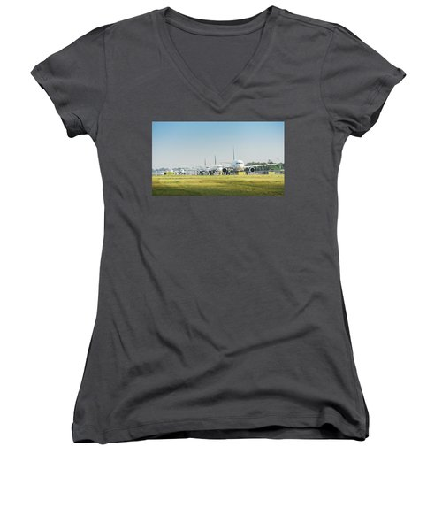 Row Of Airplanes Ready To Take-off Women's V-Neck
