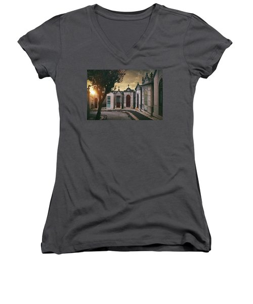 Women's V-Neck T-Shirt (Junior Cut) featuring the photograph Row Of Crypts by Carlos Caetano