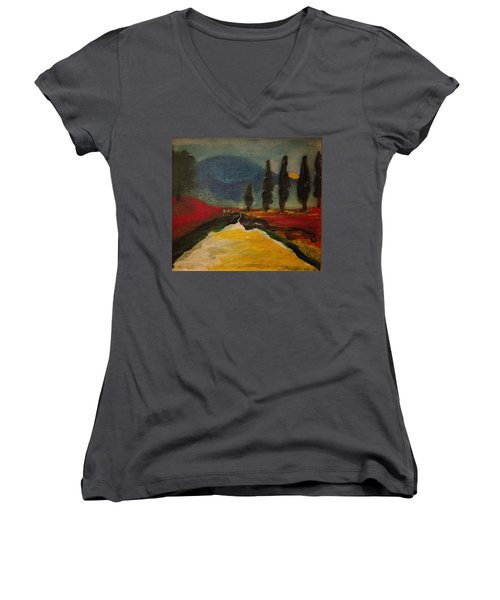 Row Of Cypress Women's V-Neck (Athletic Fit)