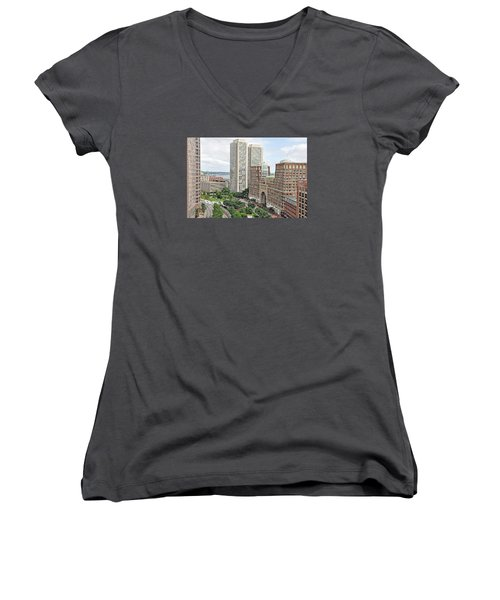Rowes Wharf Women's V-Neck T-Shirt (Junior Cut) by Joanne Brown