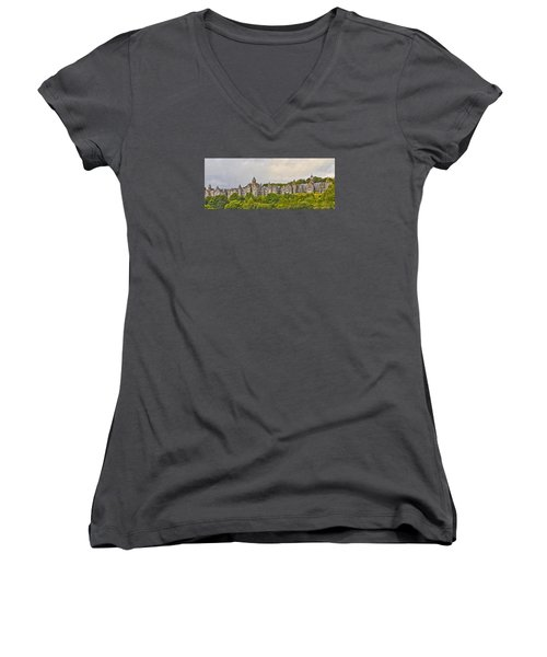 Women's V-Neck T-Shirt (Junior Cut) featuring the photograph Rows by Wanda Krack