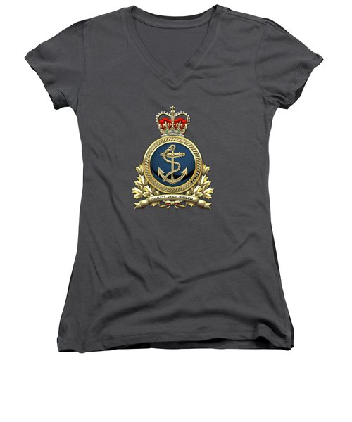 Women's V-Neck T-Shirt (Junior Cut) featuring the digital art Royal Canadian Navy  -  R C N  Badge Over Red Velvet by Serge Averbukh