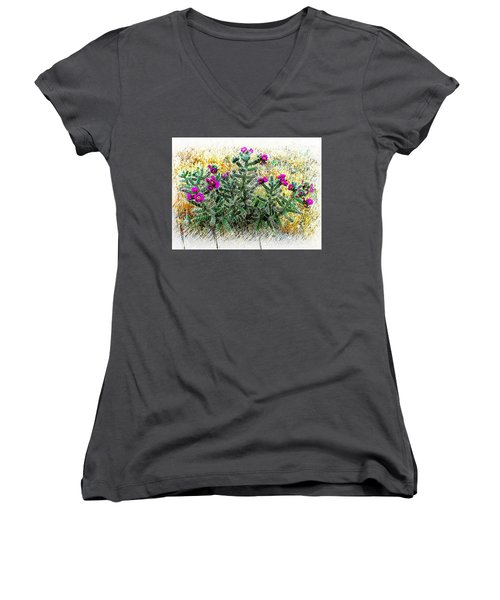 Royal Gorge Cactus With Flowers Women's V-Neck T-Shirt (Junior Cut) by Joseph Hendrix