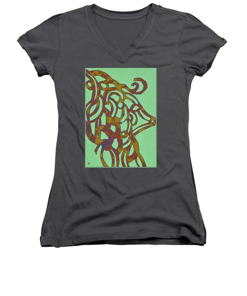 Royal Sheep Cut Out Women's V-Neck T-Shirt (Junior Cut) by Patricia Cleasby